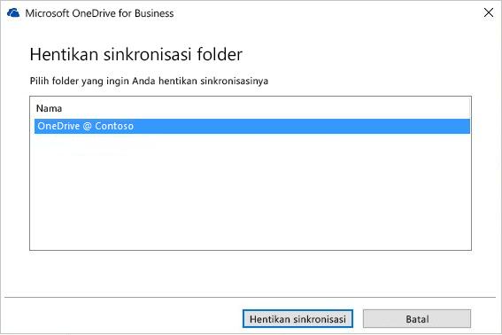 Tangkapan layar dari hentikan sinkronisasi kotak dialog folder