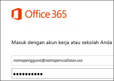 Layar masuk portal Office 365
