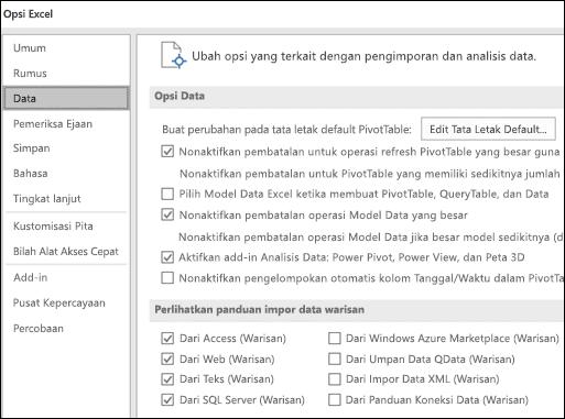 Opsi data telah dipindahkan dari File > Opsi > tingkat lanjut bagian ke tab baru disebut Data di bawah File > opsi.