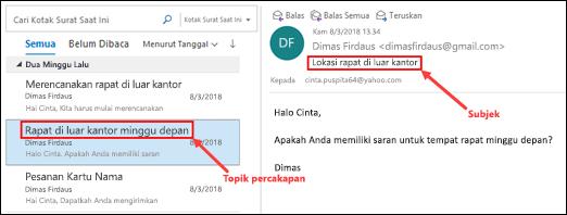 Outlook grup pesan berdasarkan topik percakapan di daftar pesan.