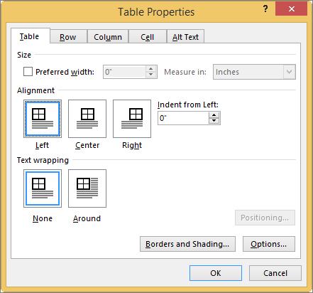 Tab tabel dalam kotak dialog properti tabel