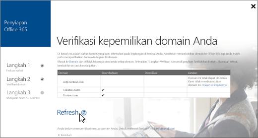 Setelah Anda memverifikasi domain Anda, pilih Refresh