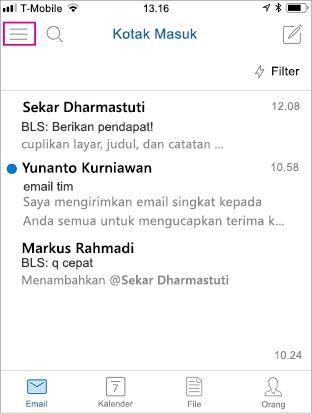 Layar utama Outlook Mobile dengan tombol menu yang disorot