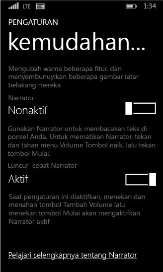Pengaturan narator Windows Phone
