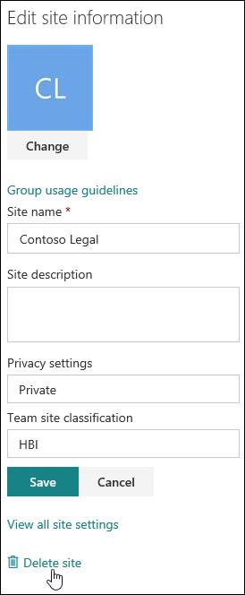 Panel informasi situs SharePoint
