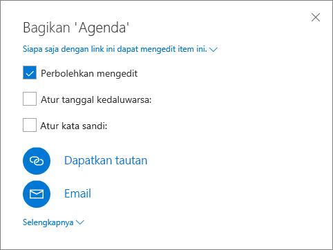 Cuplikan layar dari kotak dialog Bagikan