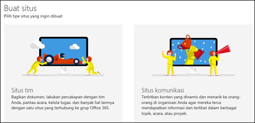 Memilih tipe situs di SharePoint Online
