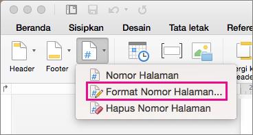 Untuk memformat nomor halaman, klik Nomor Halaman pada tab Header & Footer, lalu klik Format Nomor Halaman.