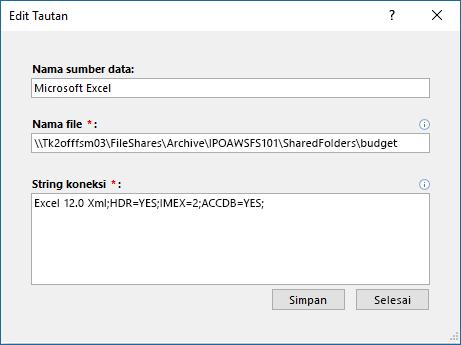Kotak dialog Edit link untuk sumber data Excel