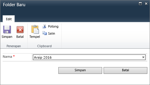 Dialog Folder Baru SharePoint 2010.