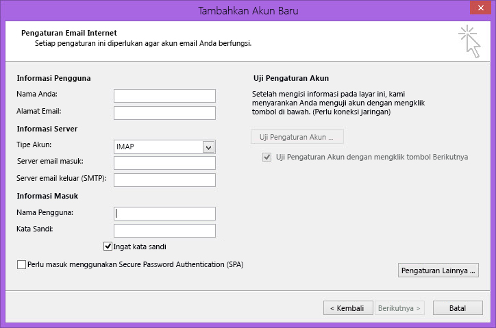 Pengaturan Email Internet Outlook 2010