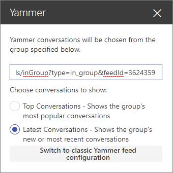 Panel properti Yammer