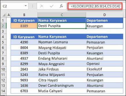 Contoh fungsi XLOOKUP yang digunakan untuk mengembalikan nama karyawan dan Departemen berdasarkan IDt karyawan. Rumusnya adalah: = XLOOKUP (B2, B5: B14, C5: D14,0,1)