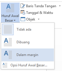 Di menu Huruf Besar Awal, pilih Dalam margin untuk meletakkan huruf besar di dalam margin dan bukan di dalam paragraf.
