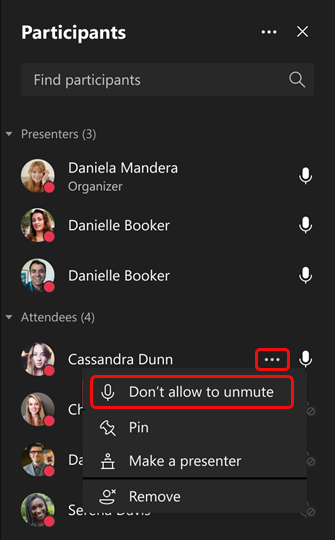 Jangan izinkan satu peserta menyalakan suara