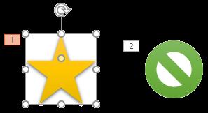 Animasi pada slide diurutkan dengan angka yang menunjukkan urutan pemutaran.
