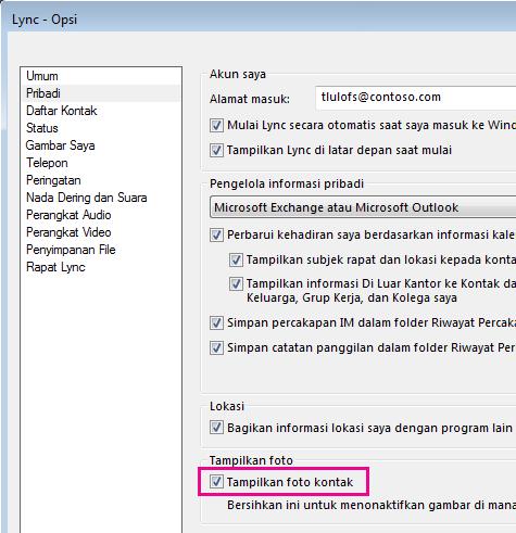 Cuplikan layar Opsi Lync dengan Pribadi yang dipilih dan Perlihatkan gambar kontak tersebut