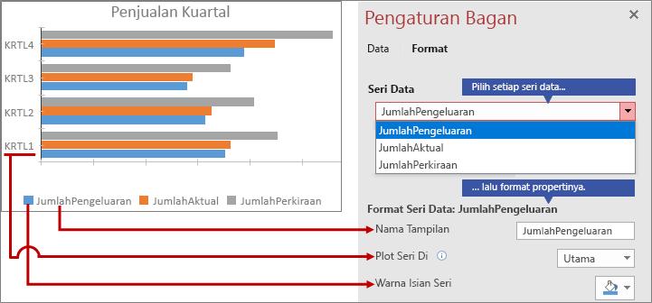 Memformat seri data yang berbeda di tab Format