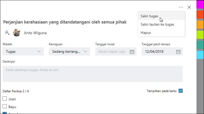 Cuplikan layar: memperlihatkan tugas yang terbuka dan menu lainnya di sudut kanan atas.