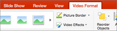 Memperlihatkan tab Format Video di PowerPoint 2016 untuk Mac