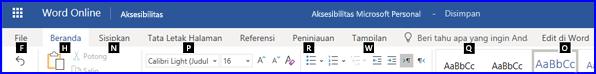 Pita dalam tampilan Edit WordOnline memperlihatkan Tombol akses
