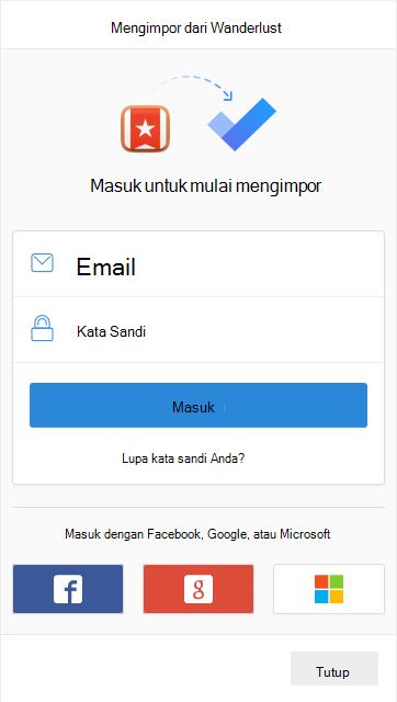 Perintah untuk masuk untuk mulai mengimpor dengan opsi untuk masuk dengan email dan kata sandi atau dengan Facebook, Google atau Microsoft