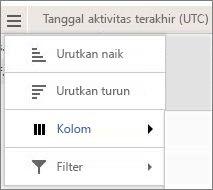 Cuplikan layar opsi menu untuk laporan Yammer