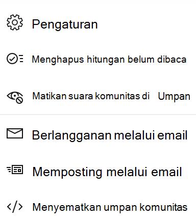 Cuplikan layar memperlihatkan pengguna akhir membisukan komunitas di Yammer baru