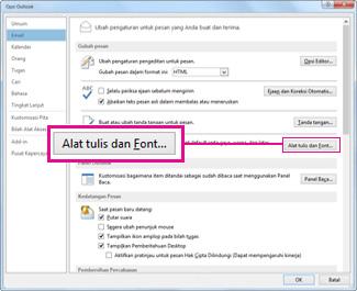 Perintah Alat Tulis dan Font di dalam kotak dialog Opsi Outlook
