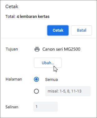 Klik Ubah untuk memilih printer