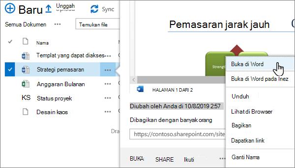 Opsi menu buka > buka di aplikasi dipilih untuk file Word dalam tampilan klasik portal OneDrive online
