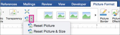Pada tab Format gambar, Reset gambar disorot