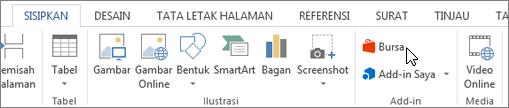 Cuplikan layar bagian dari tab Sisipkan pada pita Word dengan kursor mengarah ke toko. Pilih penyimpanan untuk masuk ke bursa Office dan mencari add-in untuk Word.