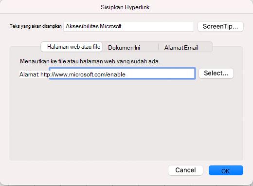 Kotak dialog sisipkan hyperlink di Excel untuk Mac.