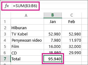 Contoh JumlahOtomatis yang memperlihatkan hasil