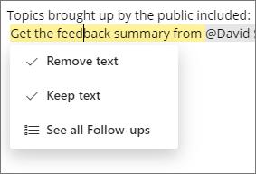 Menghapus atau mempertahankan teks tindak lanjut.