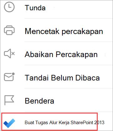 Memperlihatkan opsi email