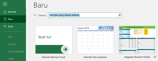 Tab baru dari menu File, dengan pencarian untuk bidang Cari Templat online digunakan
