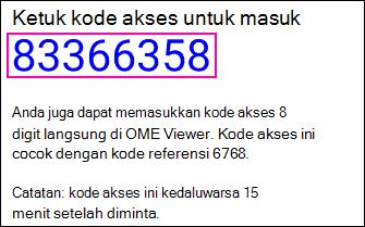 Kode akses untuk pesan yang diproteksi.