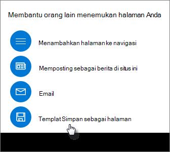 Panel Promosikan memperlihatkan Templat Simpan sebagai halaman