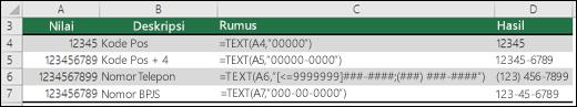 Format khusus untuk fungsi TEXT