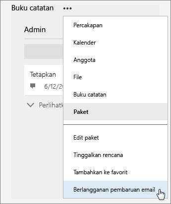Cuplikan layar daftar Selengkapnya dengan Berlangganan Ke Pembaruan Email yang aktif.
