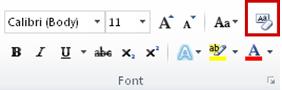 menghapus pemformatan dalam grup font