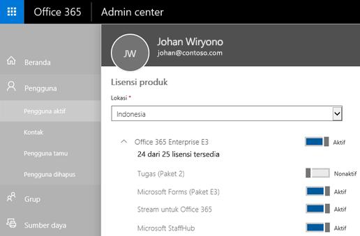 Cuplikan layar memperlihatkan halaman Lisensi produk dari Pusat admin Office 365 dengan tombol dialihkan ke Tidak Aktif untuk To-Do (Paket 2).