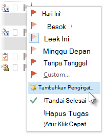 Perintah Tambahkan Pengingat pada menu klik kanan sebuah bendera dalam Tugas