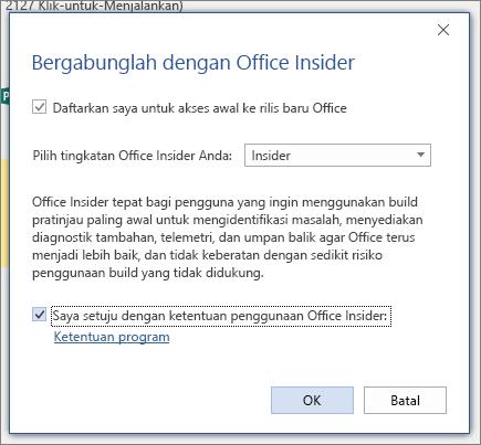 Kotak dialog bergabung dengan Office Insider