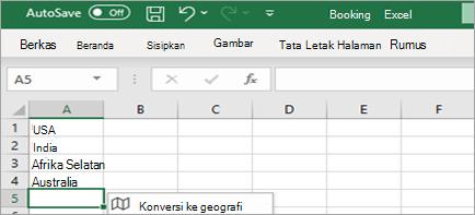 Memperlihatkan tipedata Konversi ke Geografi
