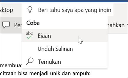 Beri Tahu Saya di Word Online