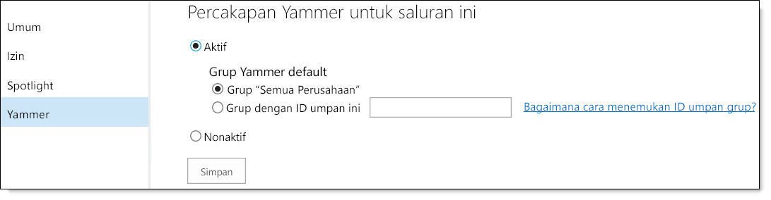 Pengaturan Yammer Video O365