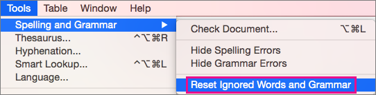 Untuk menghapus daftar kata dan tata bahasa yang diabaikan Word, klik Reset Kata dan Tata Bahasa yang Diabaikan.